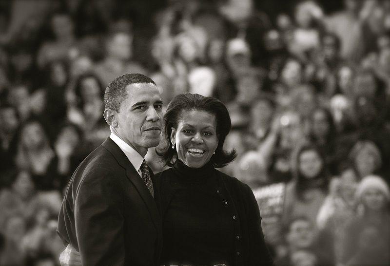 Michelle and Barak Obama in 2008.