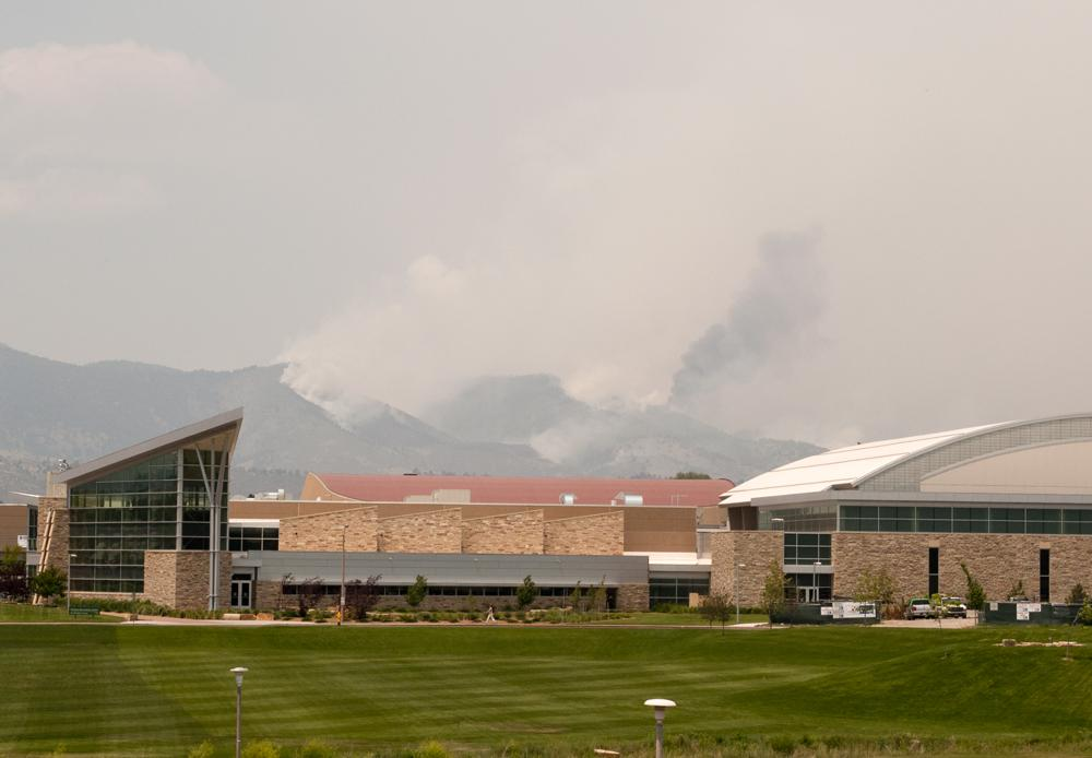 The High Park fire seen fromt he CSU main campus. Photo: John Sheesley for the Rocky Mountain Collegian