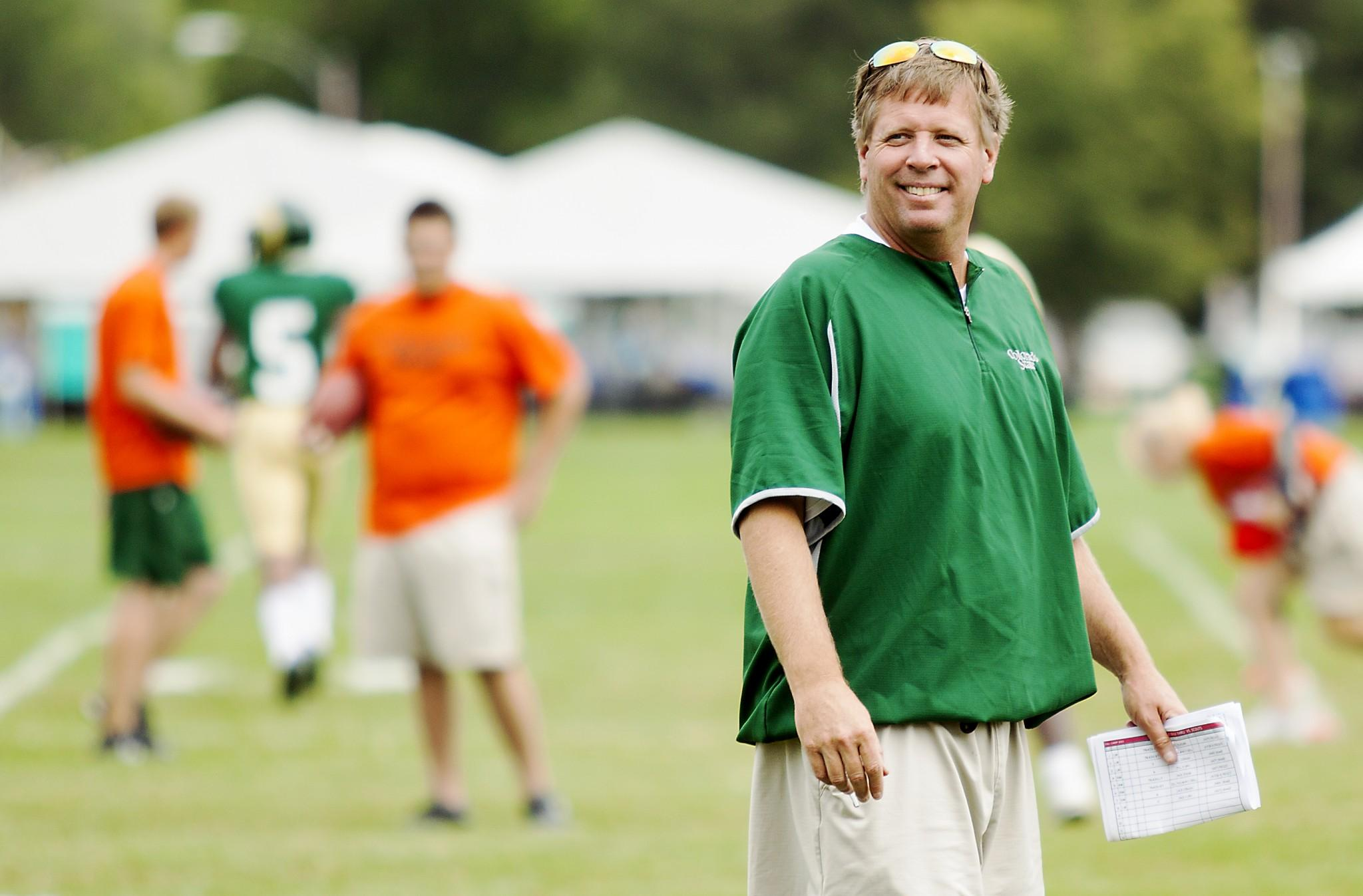 Coach Jim McElwain walks across the field during practice on Friday, Aug. 24. The Rocky Mountain Showdown will be McElwain's first regular season game as a head coach at CSU.