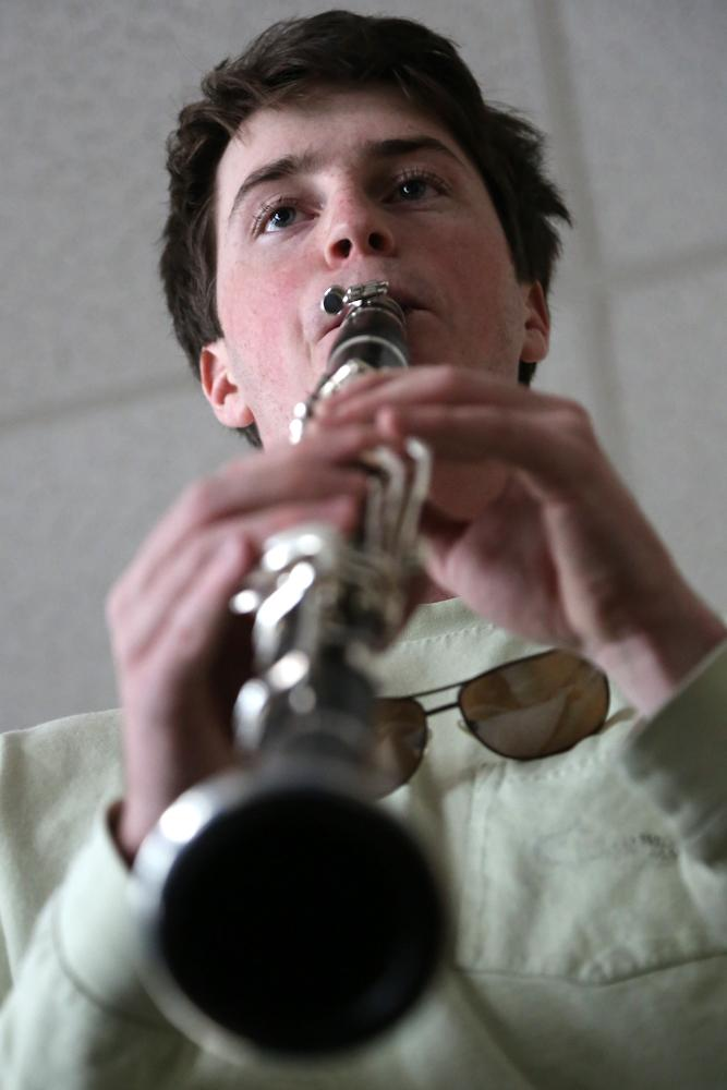 Junior music major Sean O'Connor practices at the University Center for the Arts Monday afternoon. O'connor, who plays in the Colorado State Wind Ensemble, practices at the UCA on a daily basis along with taking private lessons to prepare for performances.