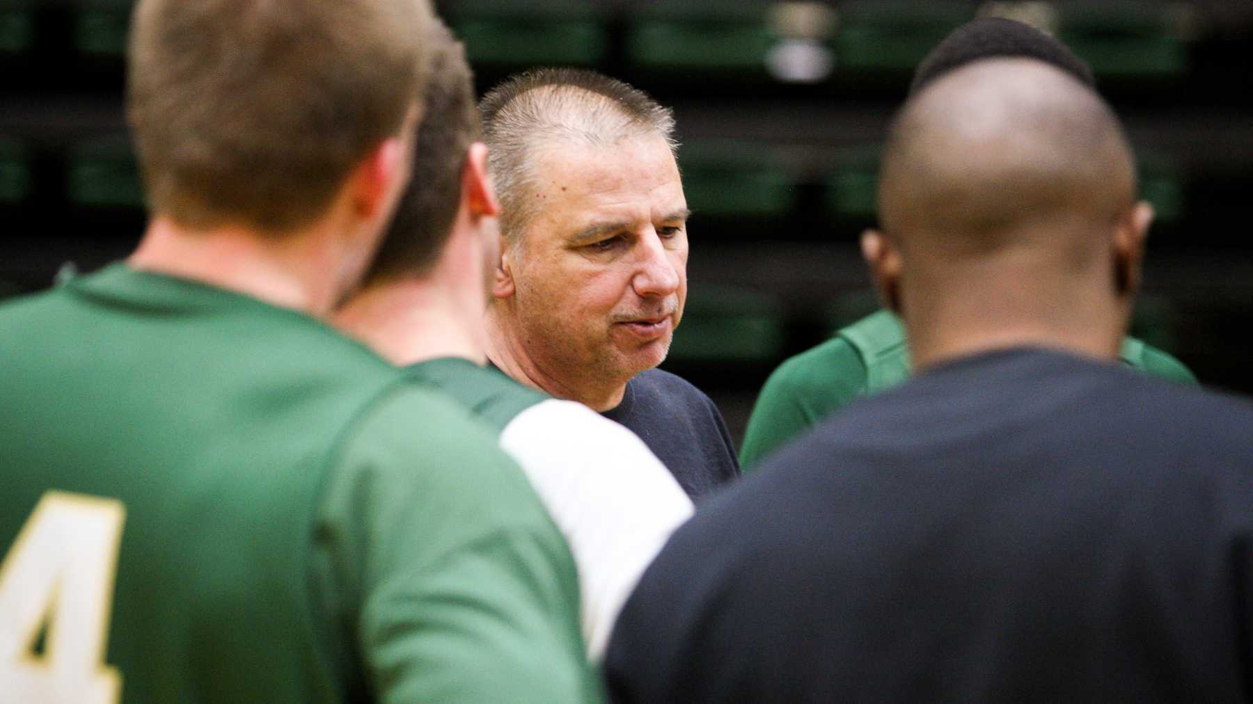 Head basketball coach Larry Eustachy talks to the team during practice Tuesday afternoon in Moby Arena. Tomorrow the Rams will be playing Fresno State on the road.