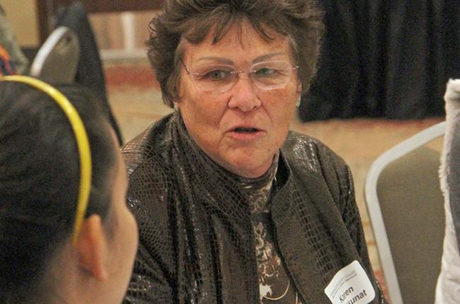 City of Fort Collins Mayor Karen Weitkunat discusses how she views the older Fort Collins population base in conjunction with other age groups during a CSU student facilitated event in the Lincoln Center Thursday.