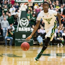 Jon Octeus dribbles down court at Moby Arena