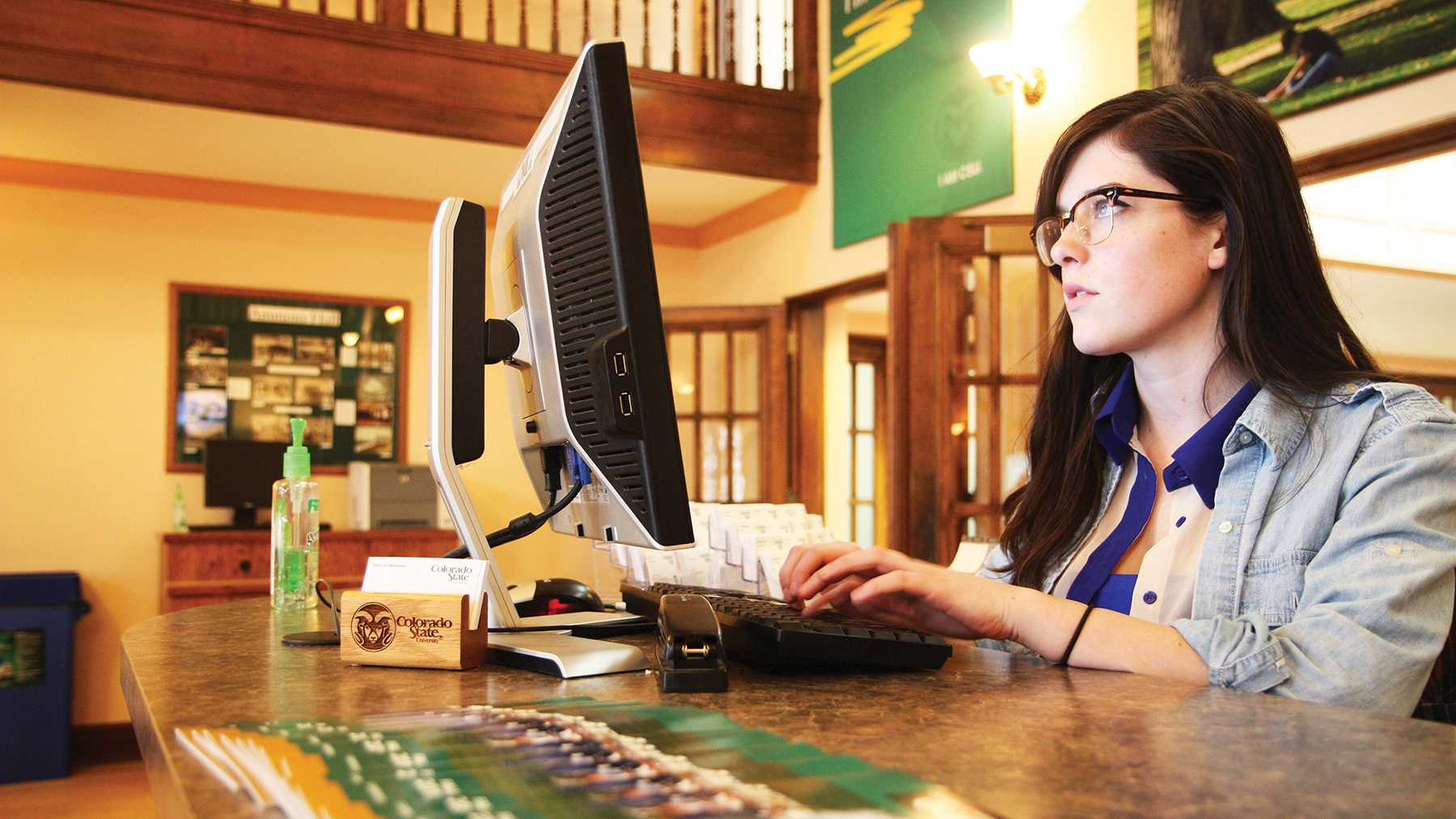 Junior Communications major, Hannah Vancuren, works the admissions office desk at CSU. She typically sees the biggest rush of prospective students in April as apllication and admission deadlines reach their end.