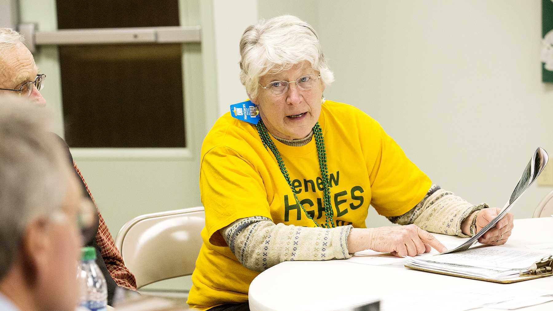 Fort Collins resident Jean Yule talks about the possibility of writing a letter to the editor at the Save Our Stadium Hughes meeting at the Westminster Presbyterian Church Wednesday night. The article called into question was seen in Colorado State's alumni magazine and featured the plans and philosophy behind the proposed on-campus stadium.