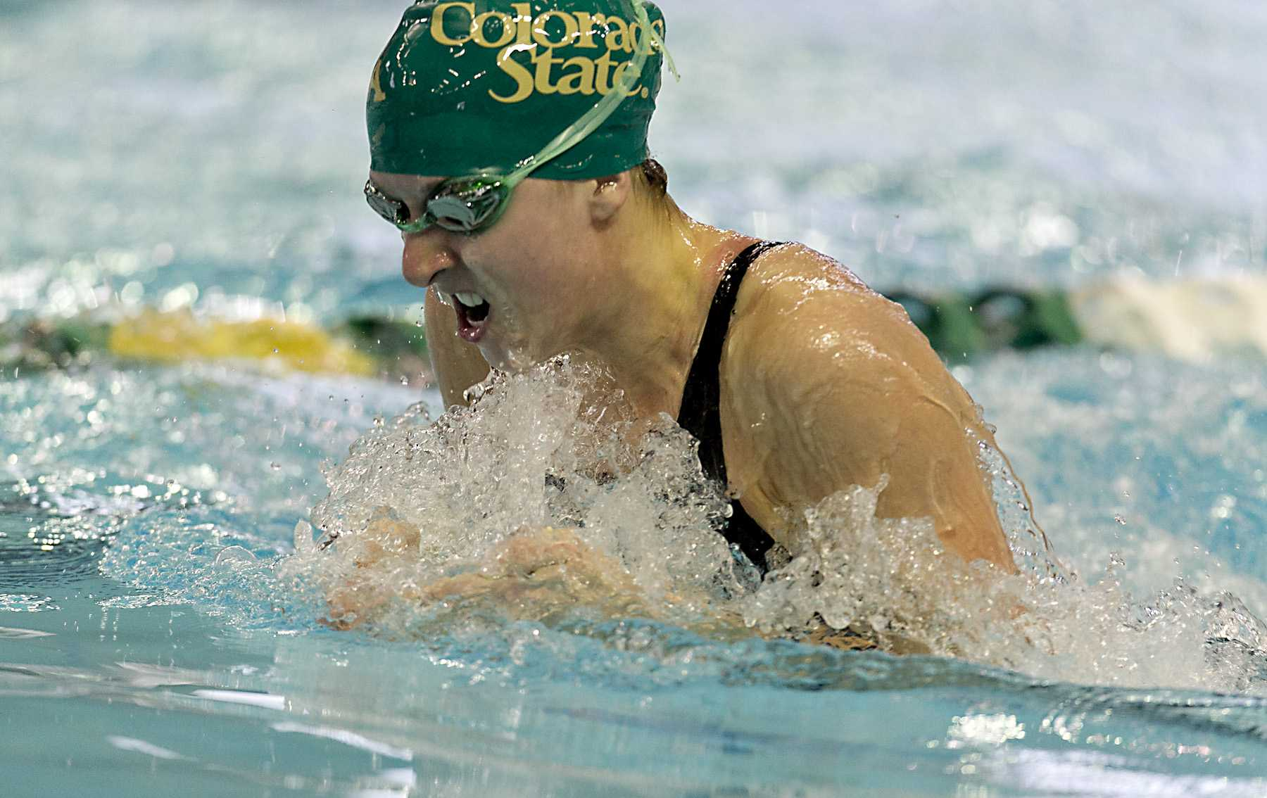 22 FEB 2013:  Colorado State's Kelly Mathews, senior, swims a 1:03.25 in the 100 yard breaststroke prelims of the Mountain West Conference 2013 Women's Swimming and Diving Championships held at Palo Alto Community College Aquatics Center in San Antonio, Texas, on Friday, February 22, 2013.  NCAA/ Rodolfo Gonzalez