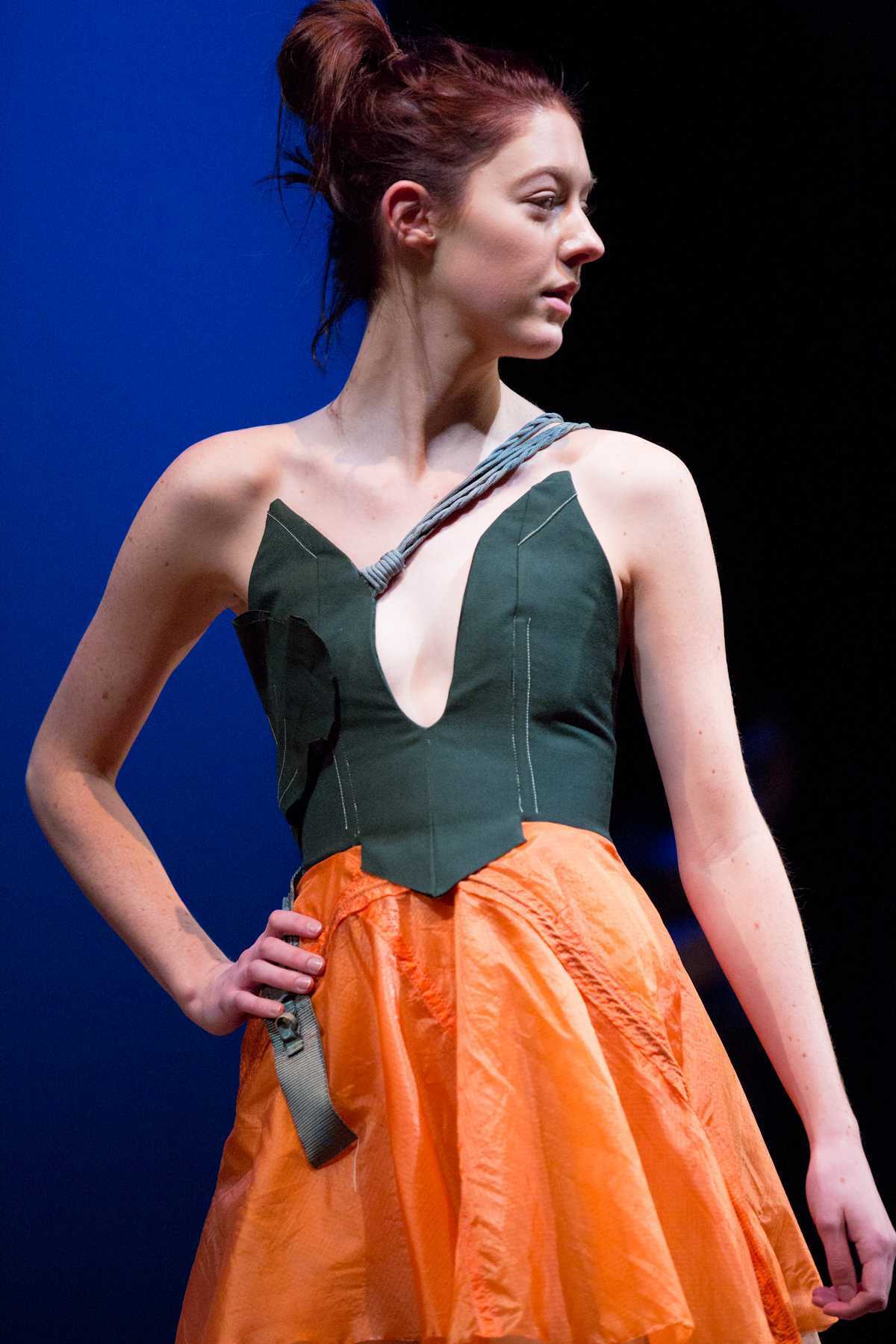 Jessie Weimer poses during a dress rehersal Thursday night for the spring fashion show in the Lincoln Center.