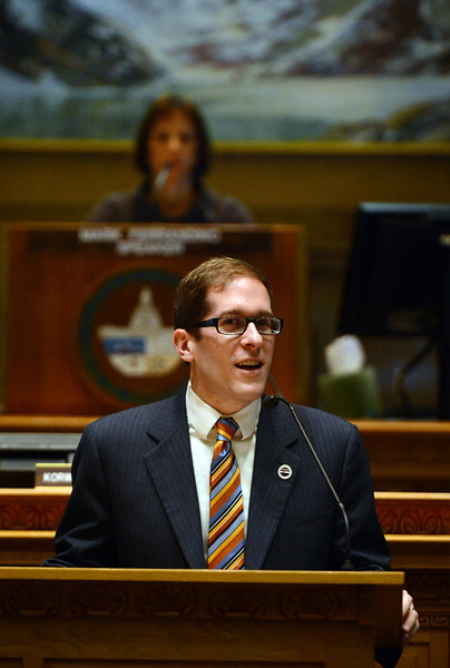 DENVER, CO. - MARCH 12: House Speaker Mark Ferrandino, D-Denver, right, addresses the house before a vote on civil union at the state capitol in Denver, CO March 12, 2013. Senate Bill 11 is sponsored by Ferrndino of Denver and Rep. Sue Schafer of Wheat Ridge, two gay Denver Democrats. The Bill passed and will allow gay couples to form civil unions in Colorado. (Photo By Craig F. Walker/The Denver Post)