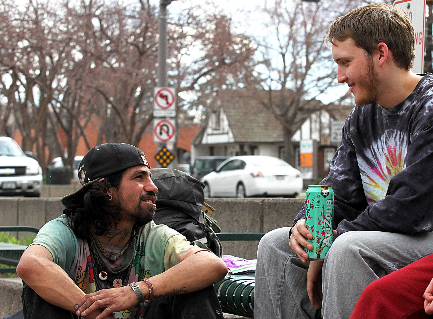Collegian reporter, Matt Gabriel, talks to a homeless traveler that goes by the name of Fishtaco. Gabriel and another reporter, Cailley Biagini, went undercover on a Friday afternoon to discover what it's like to be homeless in Fort Collins.
