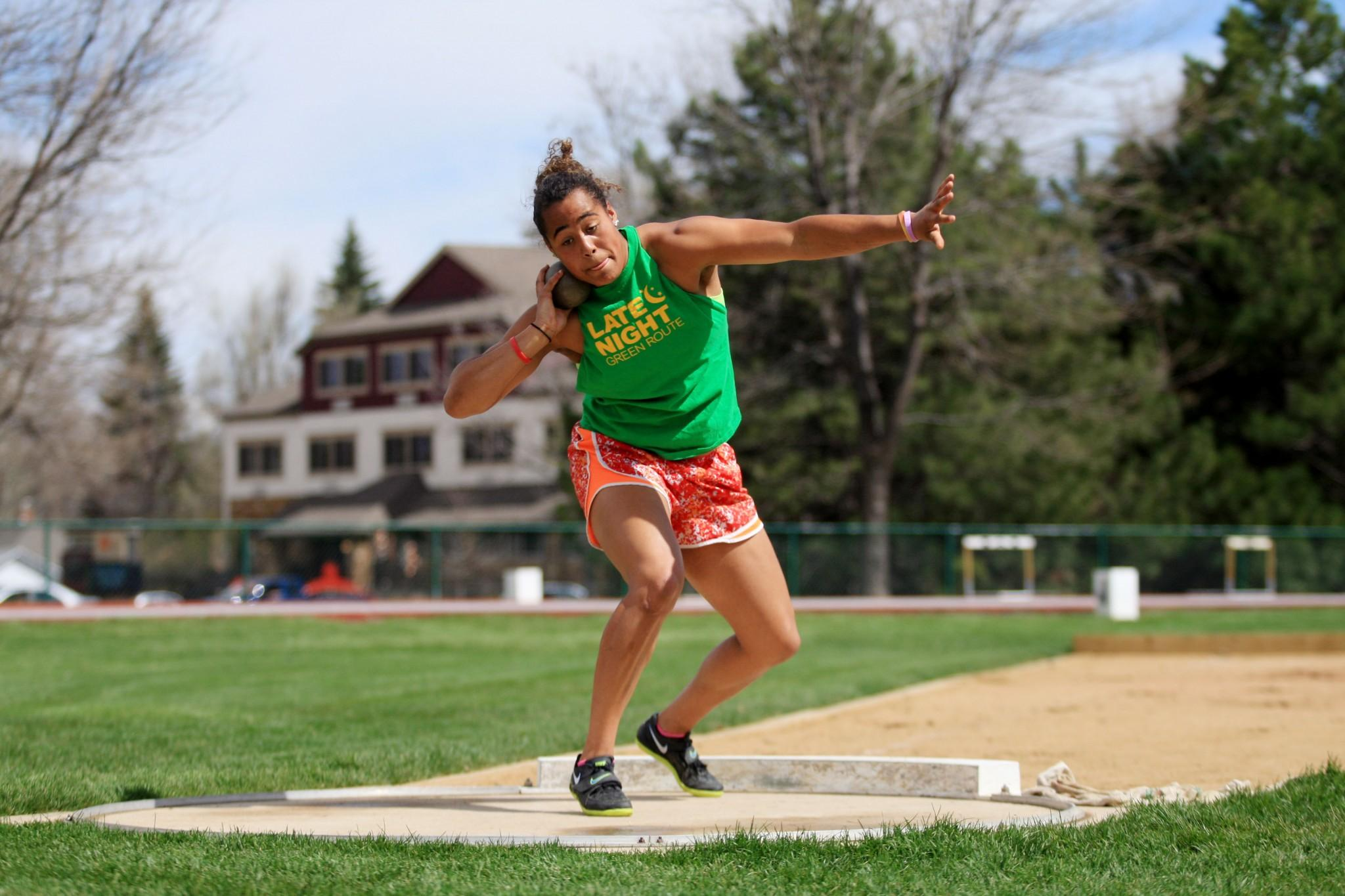 An athlete with a lot of shinning potential, Kiah Hicks exercises her throwing arm Tuesday afternoon in preperation for the Las Vegas meet this coming Saturday.