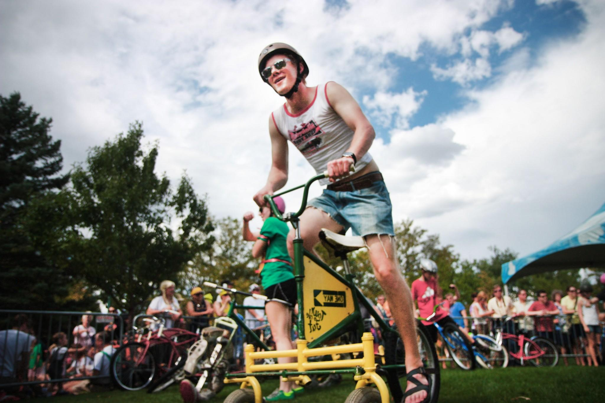 New Belgium set up an arena for excited Tour de Fat participants to zip around on quirky and fun bikes during the Tour de Fat Festival August 2013.  (Collegian File Photo)