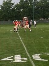 CSU quarterbacks work on drills during practice on Wednesday, Aug. 7.