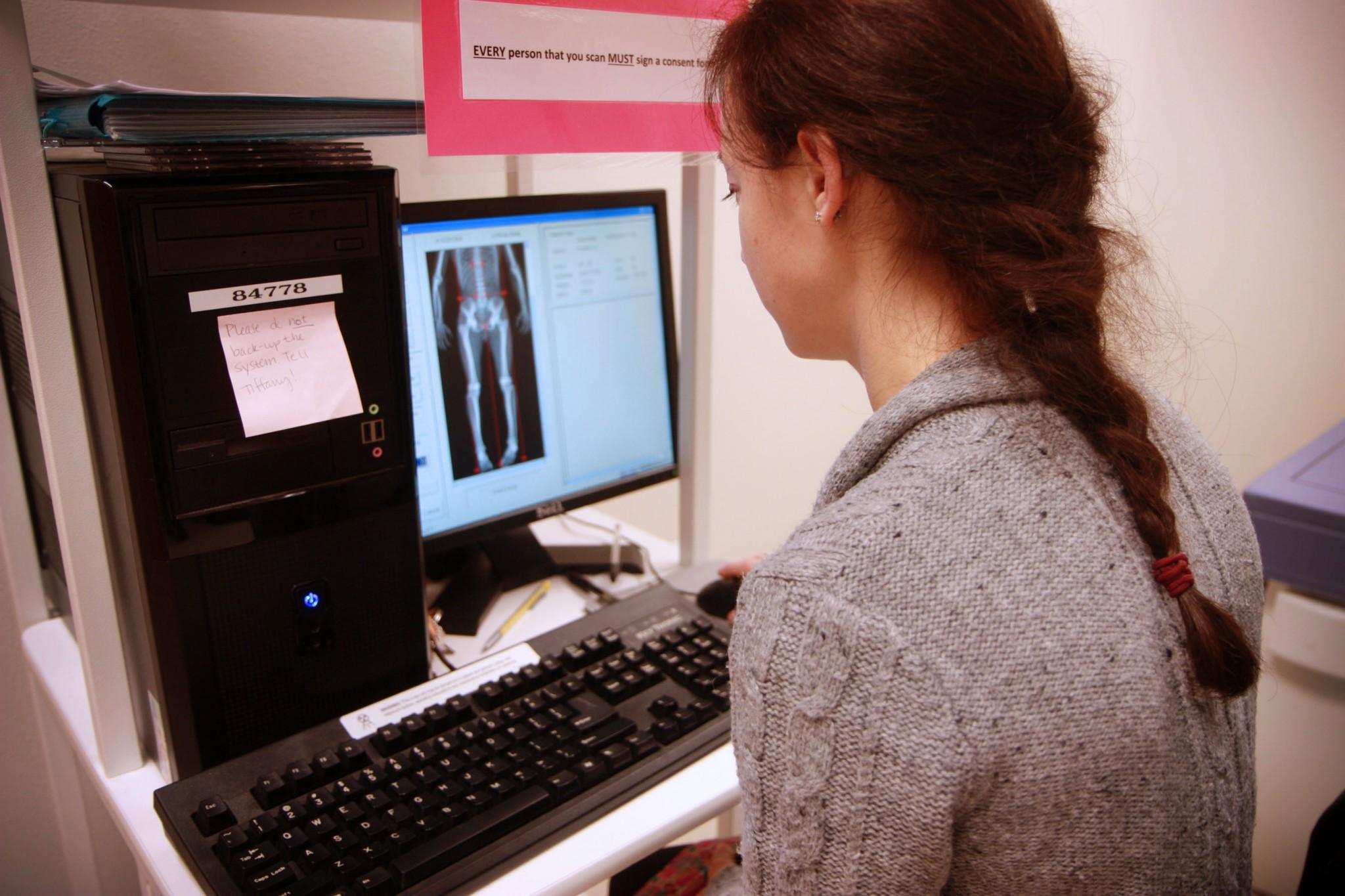 Biomedical Anthropology Graduate student, Amyee Fenwick, conducts a DEXA scan on local climbers to measure bone density as part of her masters thesis research. The DEXA scan is one of many impressive technologies avaliable to students and faculty located in the Human Performance Clinical Research Laboratory on campus.