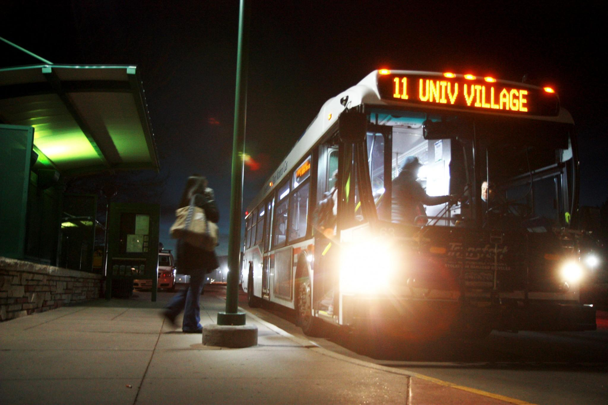 Students load onto a CSU transit bus in the evening after a long day of classes. There is potential talk of a CSU bus app that would list bus arrival and departure times as well as all bus routes through Fort Collins.