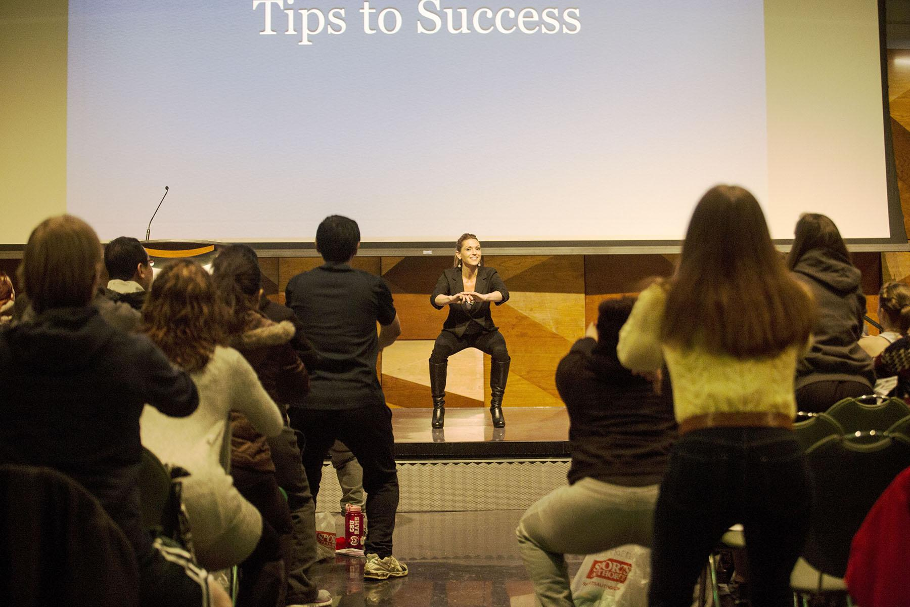 """Kim Lyons, a trainer off of the popular TV show """"The Biggest Loser,"""" kicks off a nine week program for CSU students to get in shape called Ram Recharge with an inspiring presentation."""