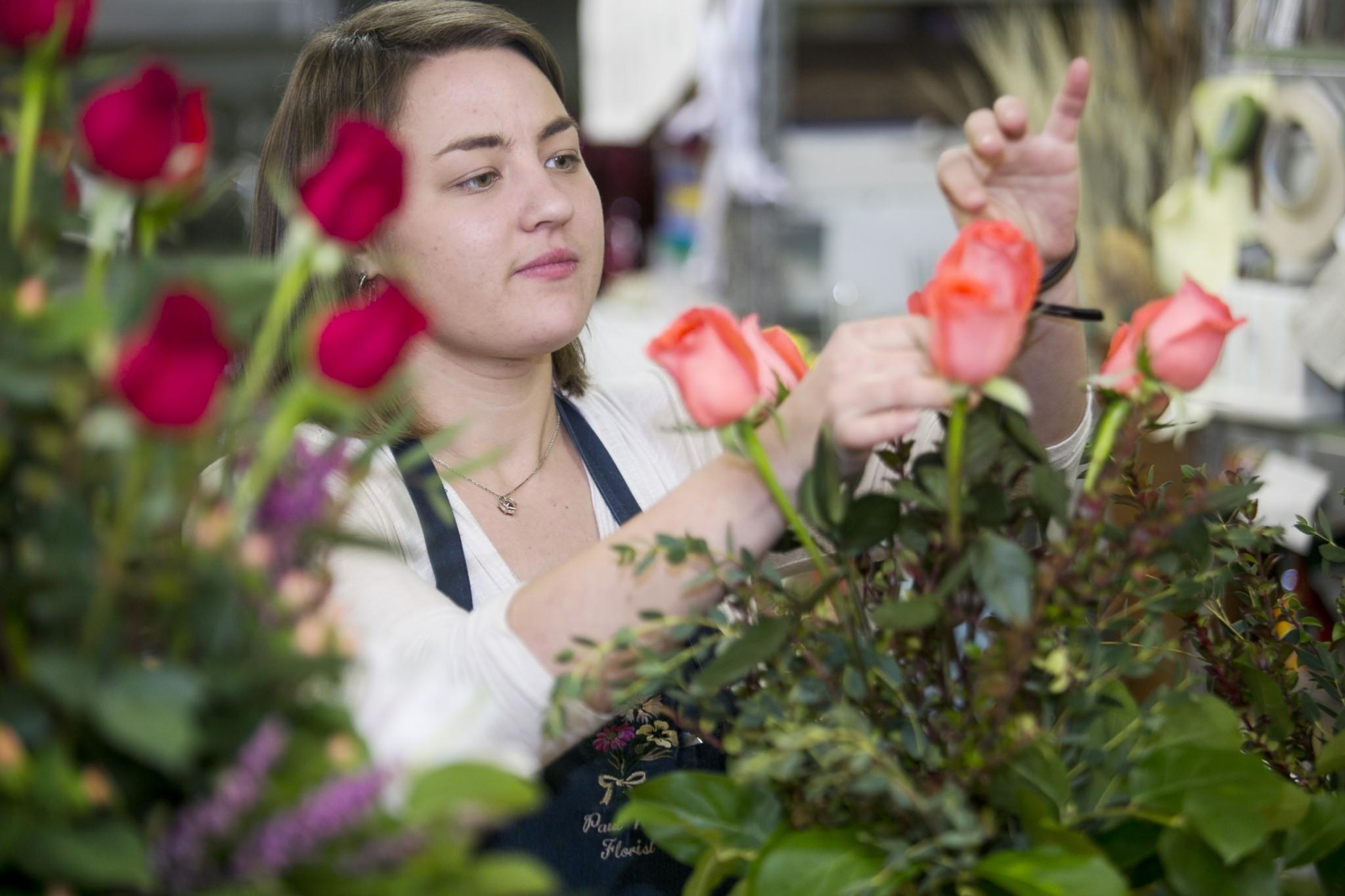 Krystal Kappeler, first year master's candidate in horticulture, arranges flowers for Valentine's Day at Paul Wood flower shop in Old Town. Many of Paul Wood's flowers come from Latin, South America, or Hawaii.
