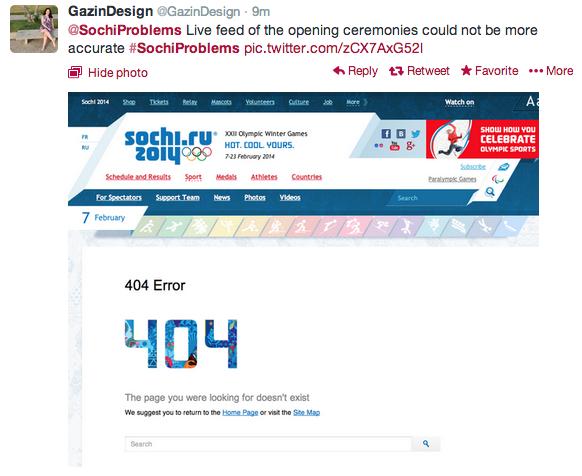 Sochi, opening ceremony, 404 error