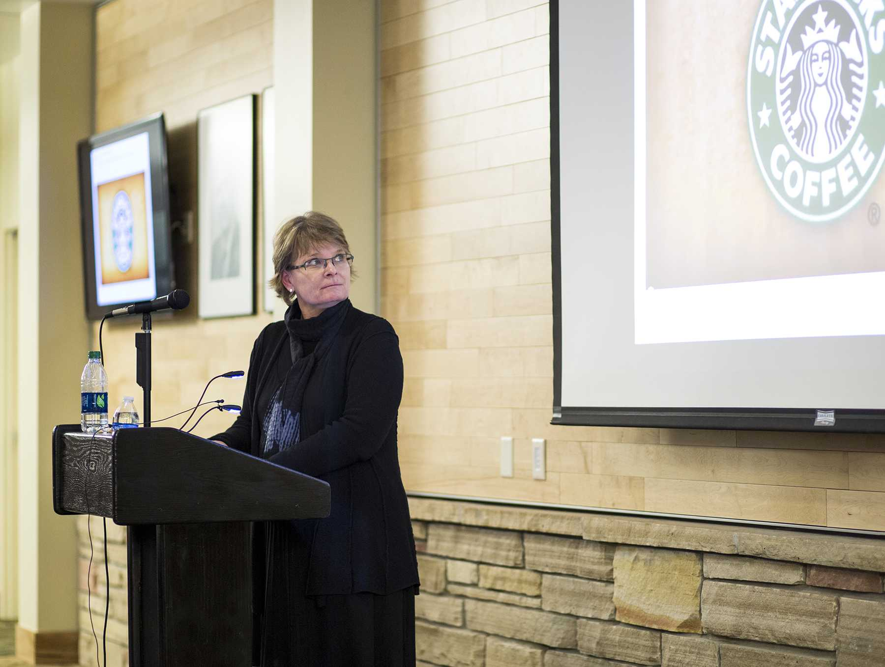 Mary Wagner, Starbucks' senior vice president of global research and development, presents innovative ideas that Starbucks is currently seeking in Moby Arena Friday afternoon.