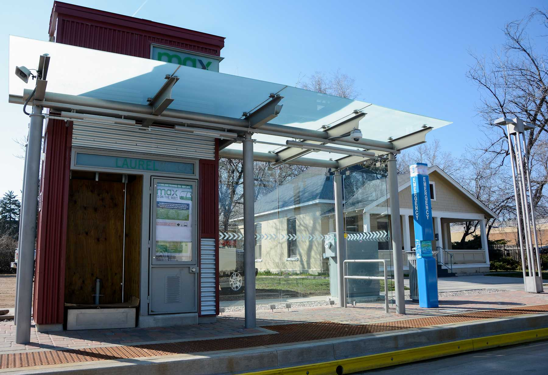 The MAX bus stations are popping up all along Mason Street thoughout Fort Collins. The system is currently undergoing testing and training before finally being installed.