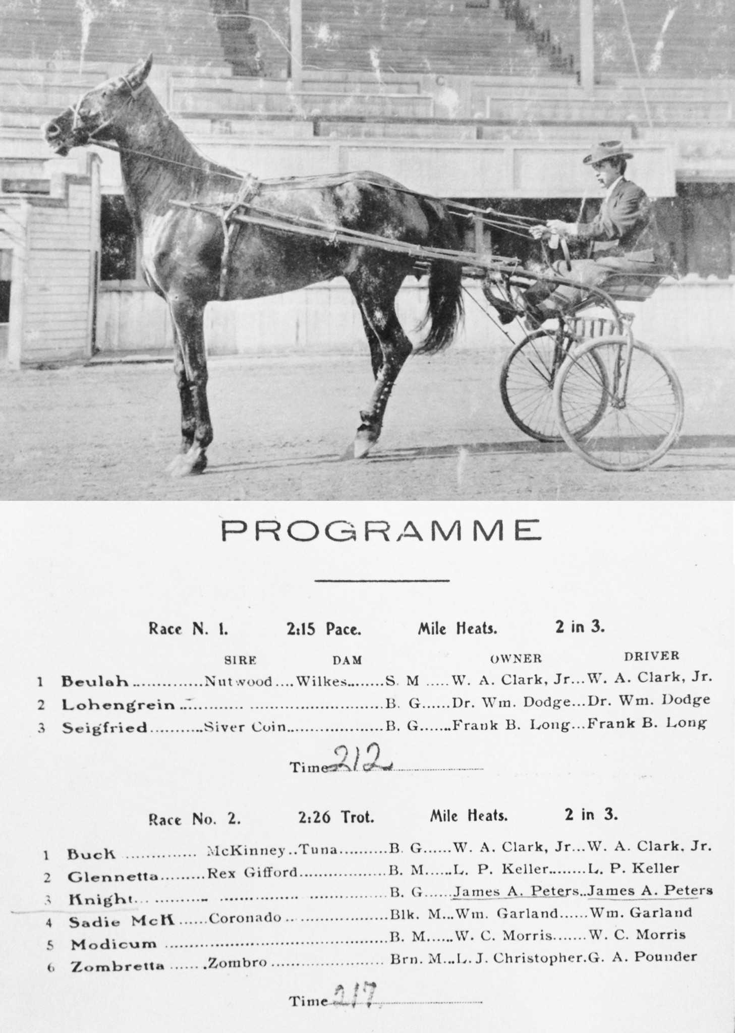 James Peters and Knight at Hollywood Exposition Park and program from a 1908 race where their time was 2 minutes 17 seconds. (Photo from family archives)