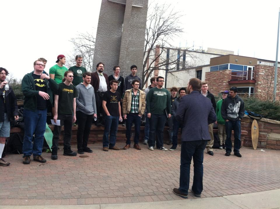 Members of the CSU Mens' Choir sing on campus.