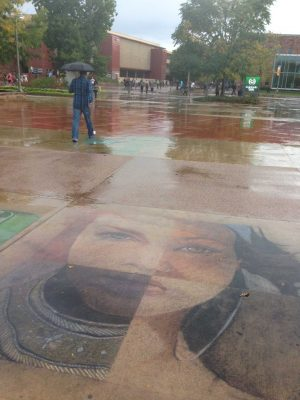 Rain falls on the CSU Plaza on Sept. 29 (Photo courtesy of McKenna Ferguson)