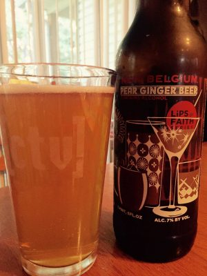 New Belgium's new Lips of Faith brew, a Pear Ginger Beer.