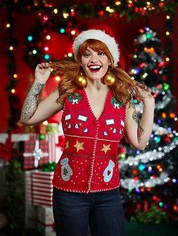 Portraits of women in ugly Christmas sweaters