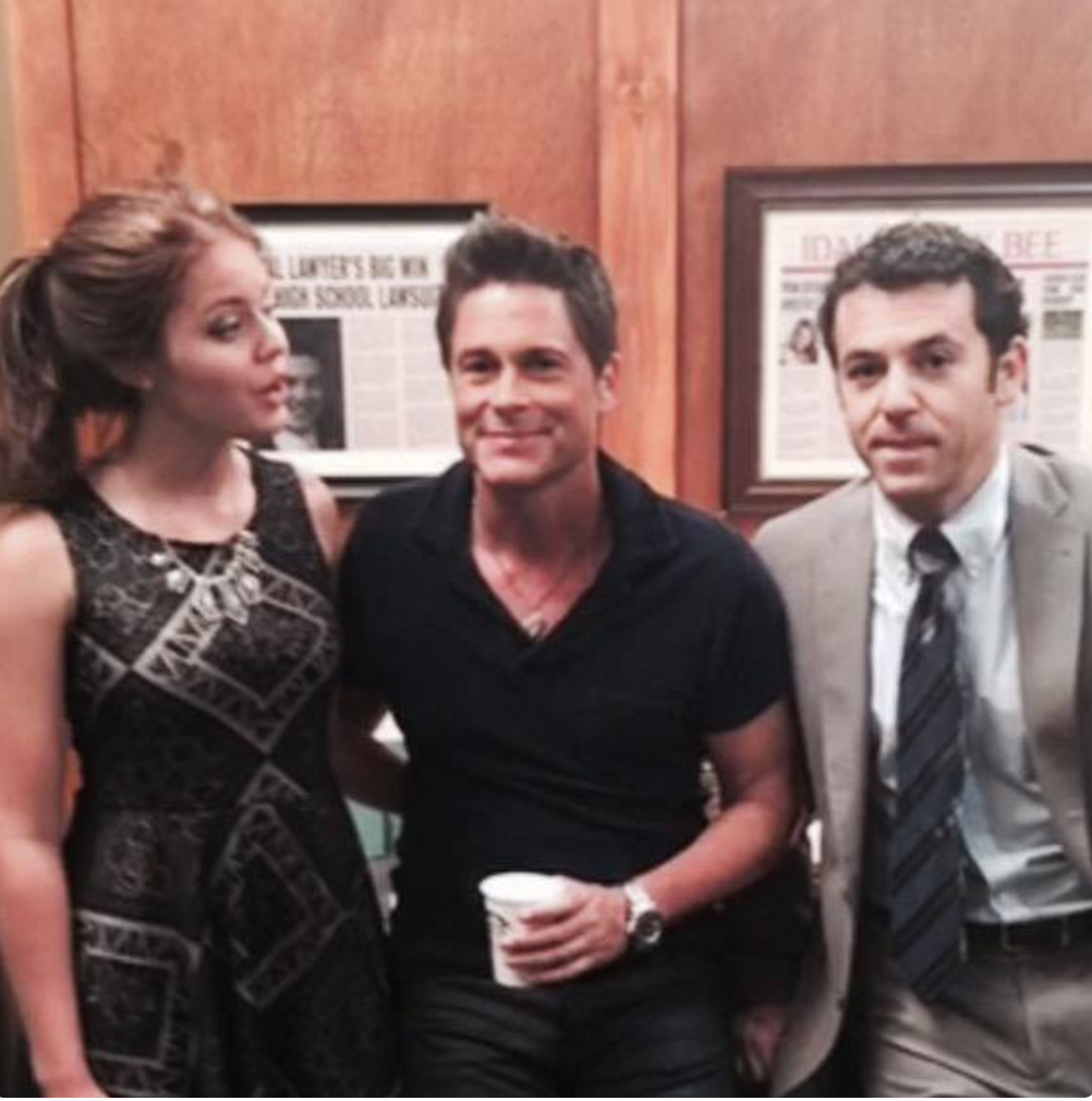 """OperAmericano on the set of """"The Grinder"""" with Rob Lowe and Fred Savage."""