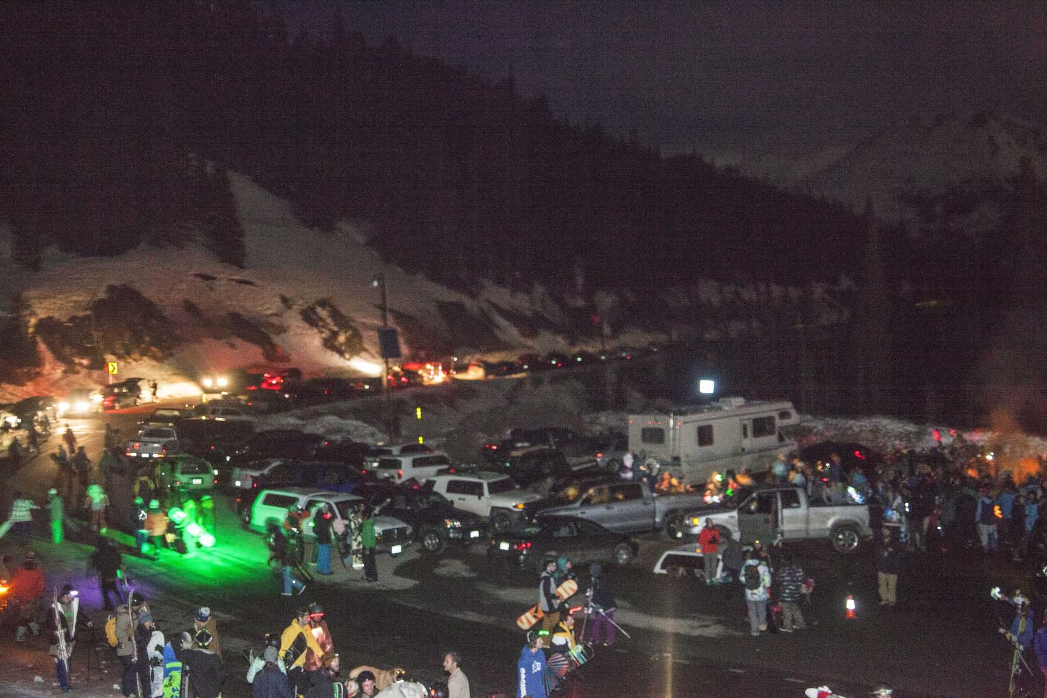 People wait in anticipation for a ride to the tope of Loveland Pass. Photo by: Nevin Fowler