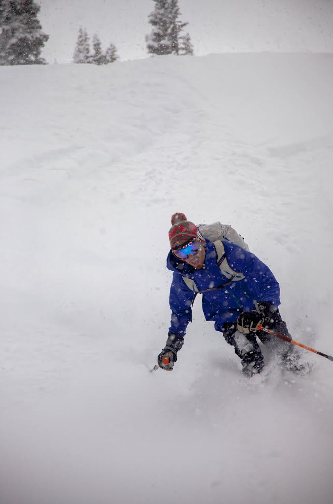 Peter Hurtgen enjoying the spring powder at Hidden Valley. (Photo by: Nevin Fowler)