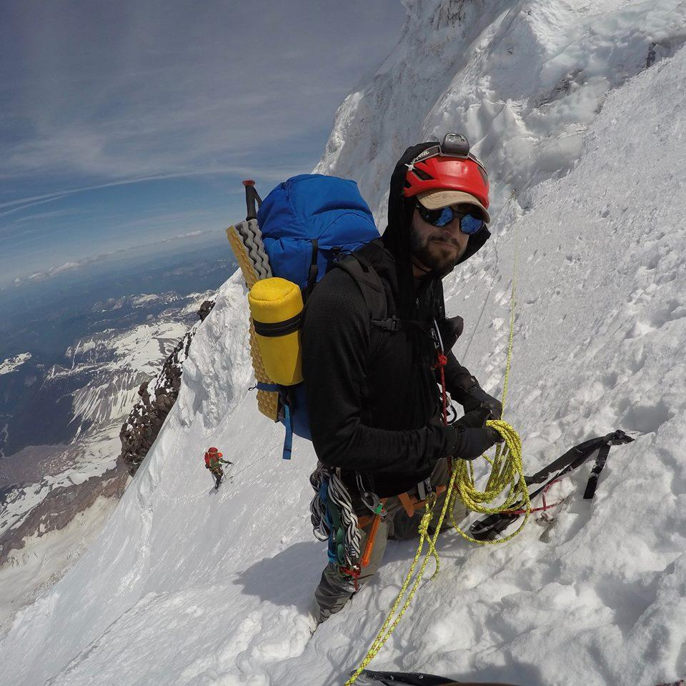 Nathan Perrault on the Liberty Ridge of Mount Rainier. (Photo by: Nathan Perrault)