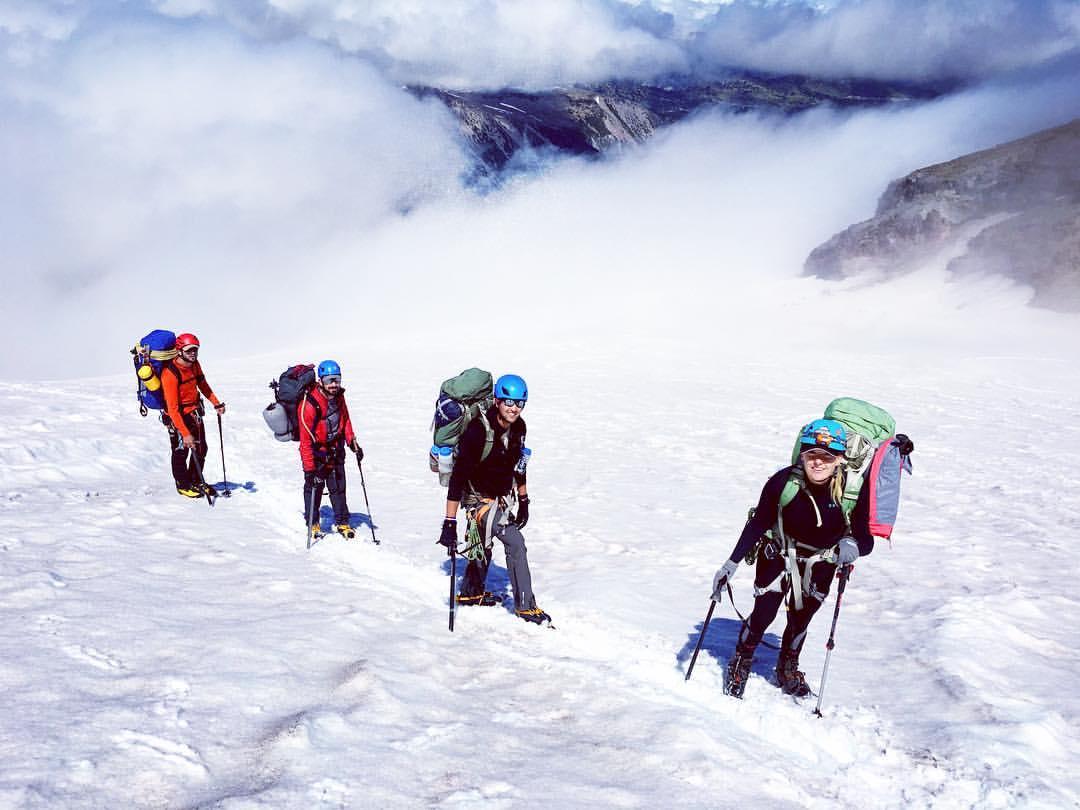 VetEx climbers on Mount Rainier. From left to right: Nathan perrault, Nathan vass, Richard salas, Sandra sandrute. (Photo By: Nick Watson)