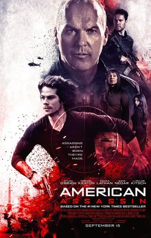 "Michael Keaton lurks in the background of a bloodstained poster for ""American Assassin"""