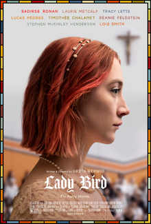 """Saoirse Ronan is framed by a crucifix in the poster for the 2017 movie """"Lady Bird."""""""