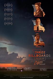 "A setting orange sun frames the poster for ""Three Billboards Outside Ebbing, Missouri"""