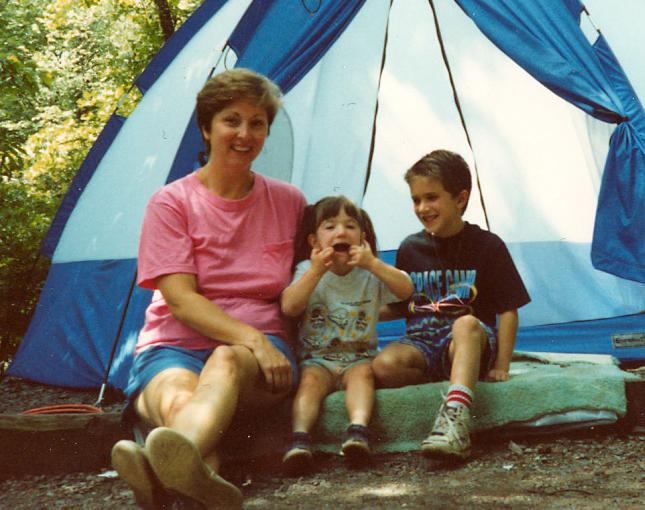 Amy Brobst goes camping with her family.