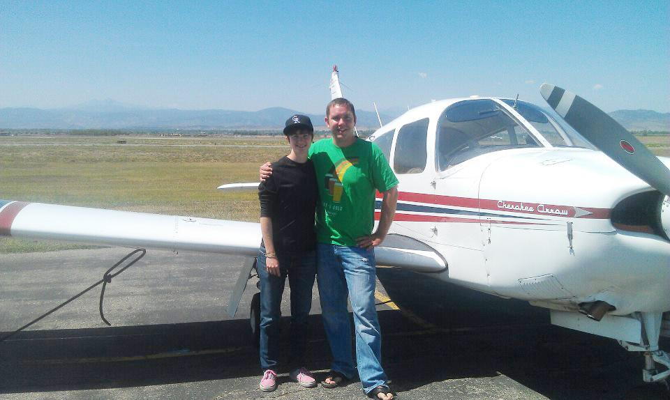 Amy Brobst, left, and Dale Butler stand in front of a Cherokee Arrow single-engine plane in April of 2012. The Arrow is similar to the one that crashed with Amy and Dale aboard.