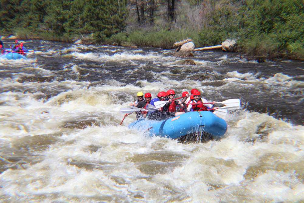 New Start program veterans work as a team to get through the rapids. Photo by Dina Alibrahim Fike.