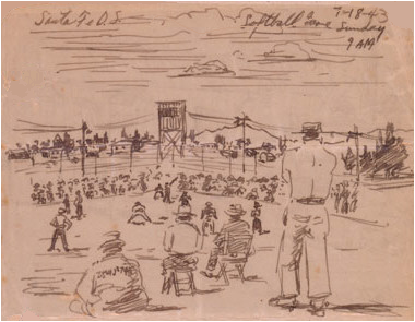 Drawing of a baseball game amongst detainees at Santa Fe. Drawing by George Hoshida, in the Hoshida Collection at the Japanese American National Museum, Los Angeles, Calif. (Image credit: Tony Phifer)