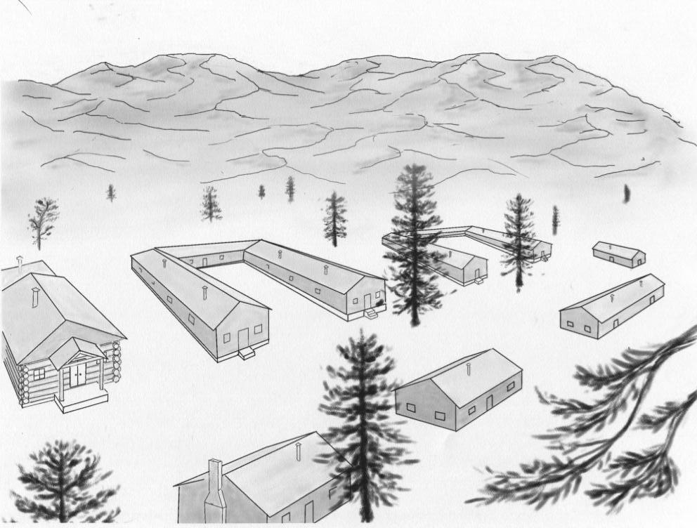 Sketch of the Old Raton (Baca) Ranch Camp drawn by detainee Ben Ebihara. (Image credit: Tony Phifer)