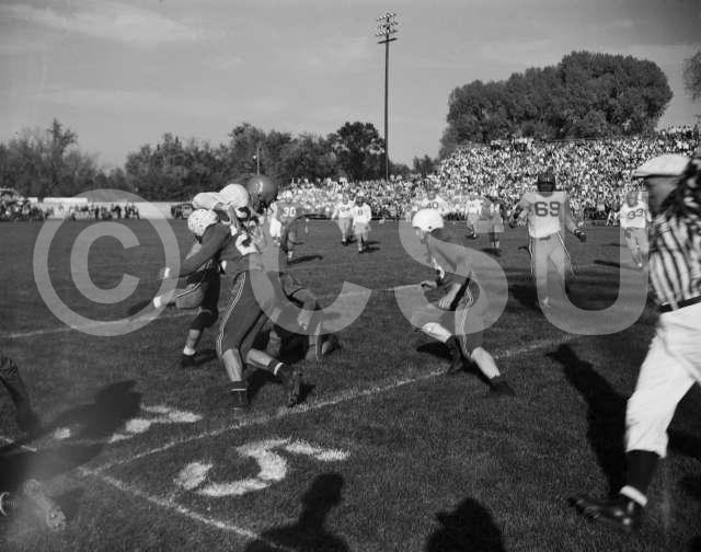 Photo of the Colorado A&M Homecoming Game versus Bringham Young University in October of 1950. Photo courtesy of CSU Photography, Department of Creative Services.