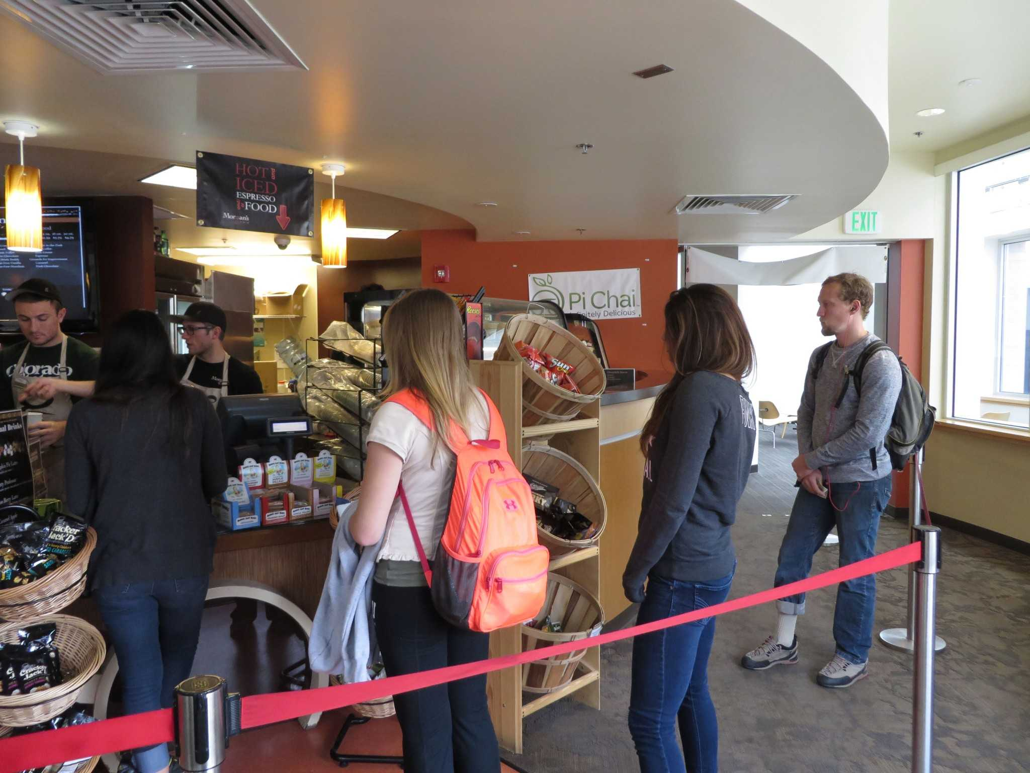 Students wait in line at Morgan's Grind in the CSU Library.