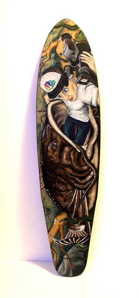 This intricate longboard was designed by Yede Productions, created by Colorado State University fine arts student Austin Armstrong. In addition to longboard designs, Armstrong also designs t-shirts and posters, among other things. (Photo courtesy: Austin Armstrong)