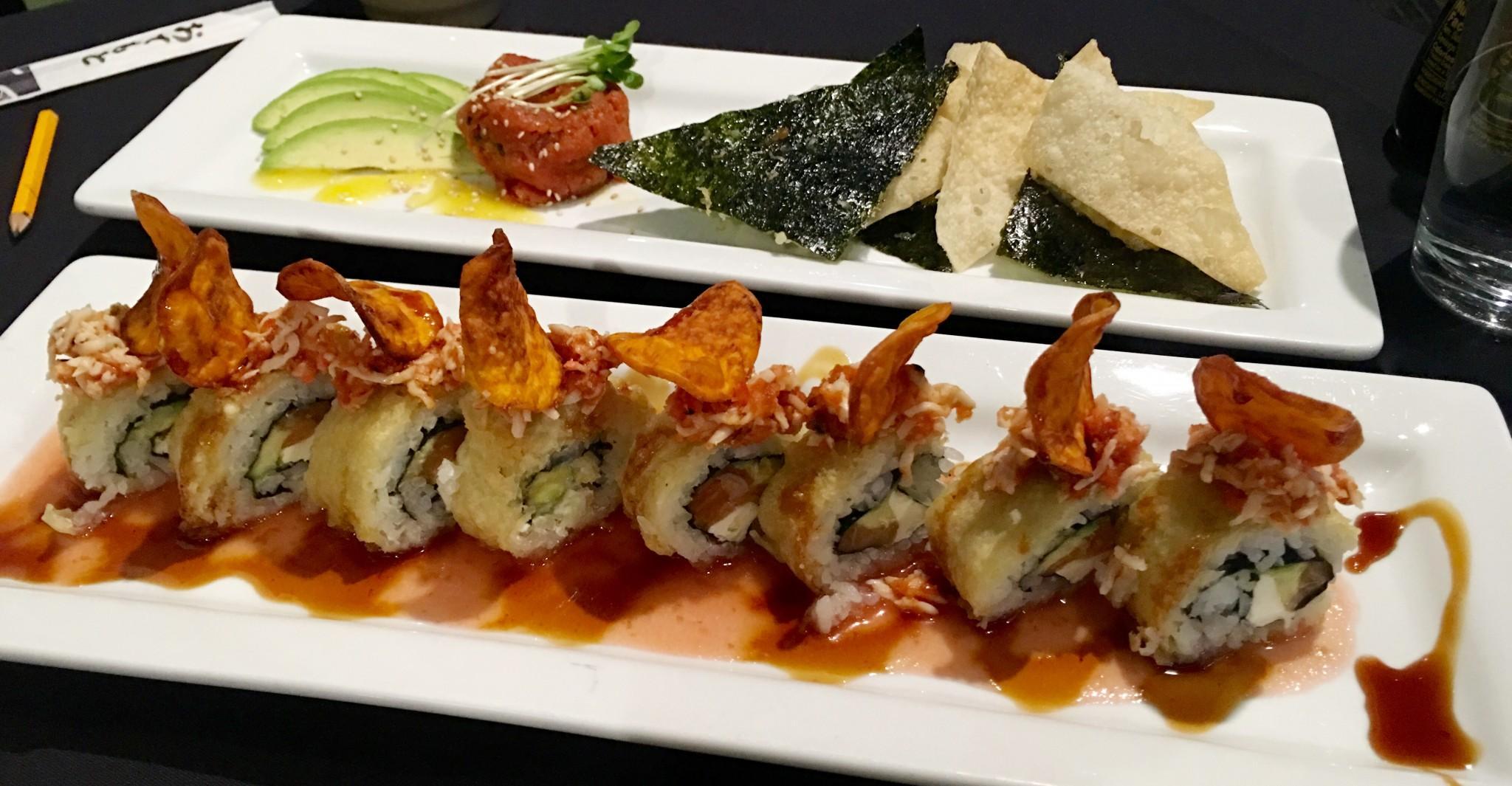 Tuna Tartar and Vegas Lights roll at Wabi Sabi Restaurant. Photo by Rachael Worthington.