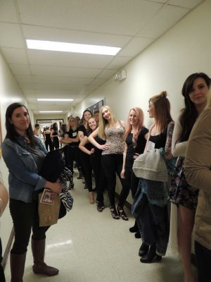 Models line up outside Gifford 336 before the model call begins on Feb. 10. Photo by Alexa Phillips