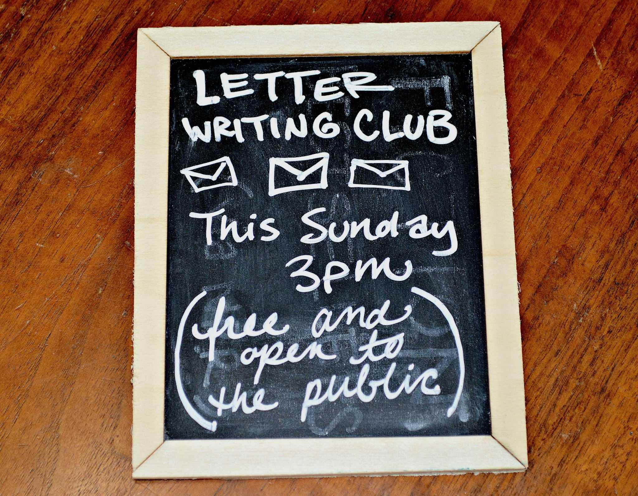 Letter Writing Club sign. Photo By: Randi Mattox