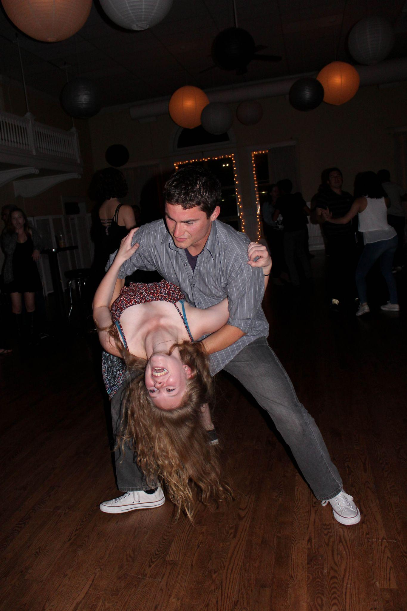 Gabriella Hehn is dipped by her dancing parter. Every Tuesday night the Rio hosts a salsa dance. (Photo by Jenna Fischer)