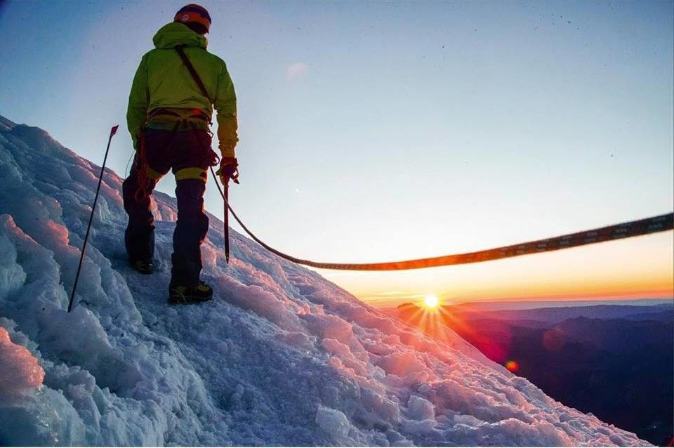 A climber on Mount Rainier using a single 9.2mm rope. (Photo By: Nevin Fowler)