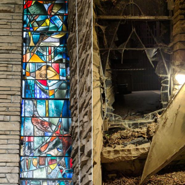 """Left: The floor-to-ceiling stained glass window depicting """"The Genesis."""" Right: The damage after Saturday night's break-in. Photos courtesy of CSU SOURCE."""